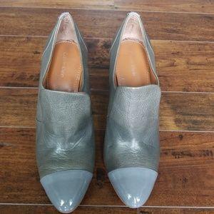 Calvin Klein Womens Gray Leather High Heel Booties